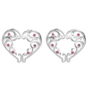 Pair ~ Pink Crystals Heart Nipple Shields